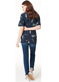 Queen Bee Georgina Maternity Nursing Blouse in Navy Print by Noppies