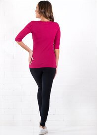 Queen Bee Laurent Breastfeeding Henley in Fuchsia by Trimester Clothing