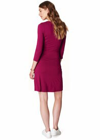 Queen Bee Belted Faux Wrap Maternity Nursing Dress in Cherry by Esprit