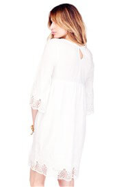 Queen Bee Lace Trim Bell Sleeve Maternity Dress in Ivory by Ingrid & Isabel