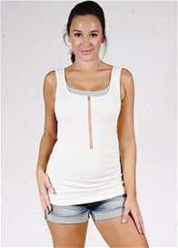 Queen Bee Zip Nursing Tank in Ivory by Molly Ades