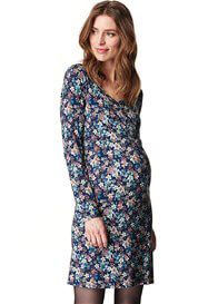 Esprit - Zip Front Nursing Dress in Navy Floral - ON SALE