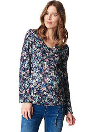 Queen Bee Button Front Maternity Nursing Top in Navy Floral by Esprit