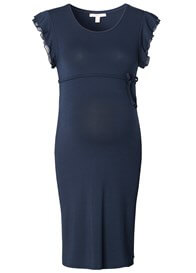 Queen Bee Frill Sleeve Maternity Dress in Night Blue by Esprit