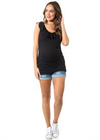 Queen Bee Jordan Frill Maternity Nursing Top in Black by Floressa