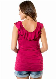 Queen Bee Vicky Frill Maternity Nursing Top in Red by Floressa