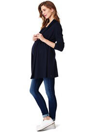 Queen Bee Draped Open Front Maternity Knit Cardigan in Navy by Esprit