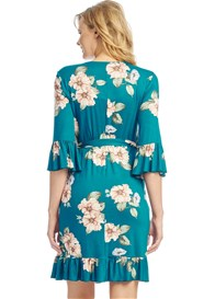 Everly Grey - Leilani Nursing Wrap Dress in Teal Floral