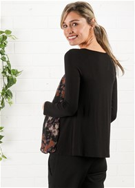 Maternal America - Chiffon Top in Black/Lilac Floral