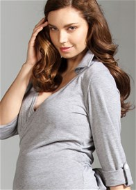 Queen Bee Enigma Grey Maternity Wrap Top by Trimester Clothing