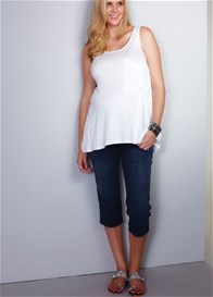 Queen Bee Square Pocket Maternity Capri Jeans by Maternal America