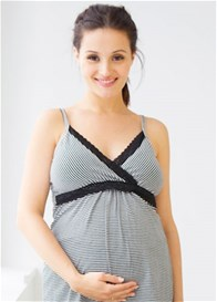 Queen Bee Belly Boudoir Black Stripe Maternity/Nursing Cami by Belabumbum