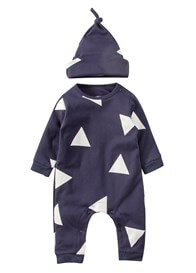 Lait & Co - Triangle Print Onesie & Hat in Blue
