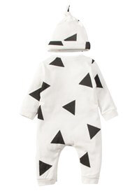 Lait & Co - Triangle Print Onesie in White