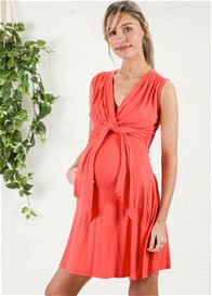Maternal America - Front Tie Dress in Coral