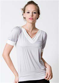 Queen Bee Slate Short Sleeve Nursing Top in Grey by Dote Nursingwear