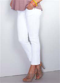 Maternal America - White Skinny Ankle Jeans