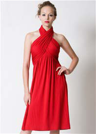 Queen Bee Sienna Halter Nursing Dress in Red by Dote Nursingwear