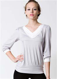 Queen Bee Slate Long Sleeve Nursing Top in Grey by Dote