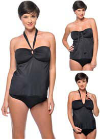 Queen Bee Black Maternity Tankini & Bikini Swimsuit by PregO Swimwear