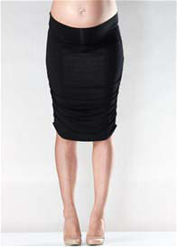 Queen Bee Black Ruched Maternity Skirt by Soon Maternity