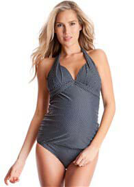 Queen Bee Navy Spotted Halterneck Maternity Tankini Swimsuit by Seraphine