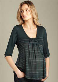 Queen Bee Green Flutter Maternity Top by Maternal America