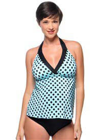 Queen Bee Aqua/Black Dot Maternity Tankini Swimsuit by PregO Swimwear