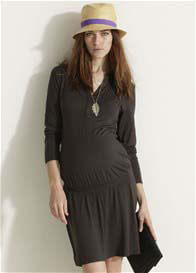 Queen Bee Coffee Brown Henley Maternity Work Dress by Esprit