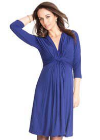 Queen Bee Royal Blue 3/4 Sleeve Knot Front Maternity Dress by Seraphine