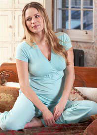 Queen Bee Layla Mint Blue Maternity/Nursing Pyjama Set by Floressa Clothing