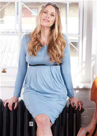 Queen Bee Grace Dusty Blue Nursing Dress by Floressa Clothing
