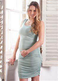 Queen Bee Willow Green Maternity/Nursing Tank Dress by Floressa Clothing