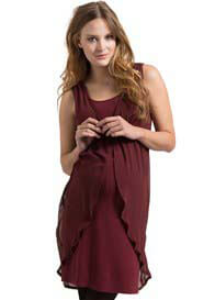 Queen Bee Burgundy Chiffon Maternity Party Dress by Esprit