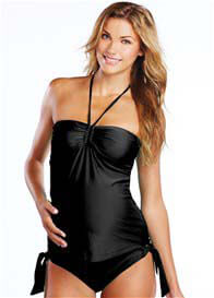 Queen Bee Cheryl Halterneck Maternity Tankini in Black by Maternal America