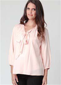 Queen Bee Shell Pink Maternity Pussy Bow Tie Blouse by Ripe Maternity