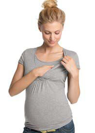 Esprit - Short Sleeve Nursing Top in Grey
