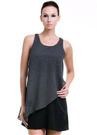Queen Bee Stacy Nursing Dress in Black Polkadot by Dote Nursingwear