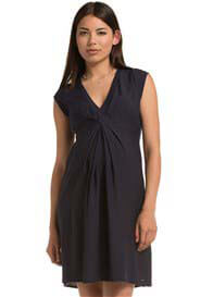 Queen Bee French Pleat Front Maternity Dress in Cinder Blue by Esprit
