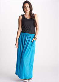 Queen Bee Danica Black/Blue Breastfeeding Maxi Dress by Floressa