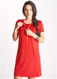 Queen Bee Aster Red Zip Breastfeeding Dress by Floressa Clothing