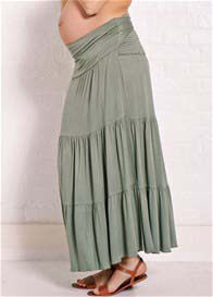 Queen Bee Perry Green Tiered Wrap Maternity Maxi Skirt by Trimester Clothing