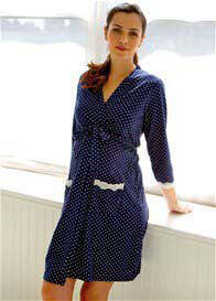 Queen Bee Dottie Navy Polkadot Maternity Robe by Belabumbum