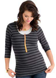 Queen Bee 3/4 Sleeve Nursing Top in Black/Charcoal Stripe by Molly Ades