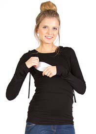Queen Bee Jamie Maternity Nursing Hoodie in Black by Quack Nursingwear