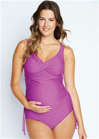 Queen Bee Purple Orchid Bella Ruched Maternity Tankini by Maternal America