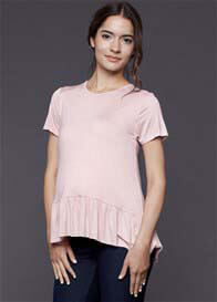 Queen Bee Cassidy Pink Ruffle Maternity/Nursing Top by Dote Nursingwear