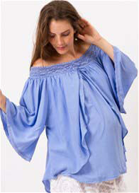 Queen Bee As It Flows Maternity/Nursing Top in Powder Blue by Fillyboo