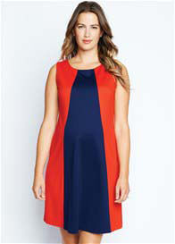 Queen Bee Red/Navy Blue Pyramid Maternity Dress by Maternal America