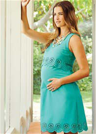 Queen Bee Scallop Maternity Dress in Mint Green by Maternal America